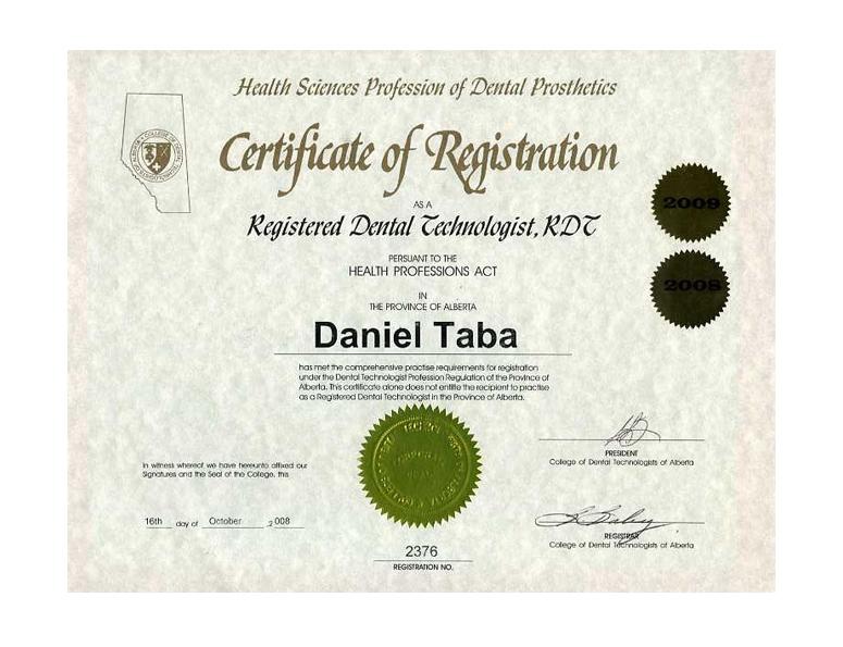 Renaissance Cosmetic Arts Dental Lab Diplomas & Certifications